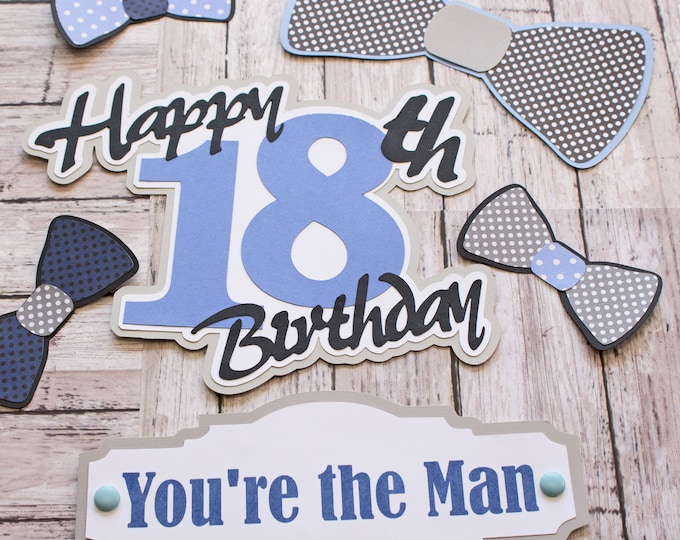 Any Colors, Any Birthday Year, Set of 6, Layered Die Cuts, Scrapbook Embellishment, You're the Man, Handmade Bow Tie Diecut, Men's Birthday