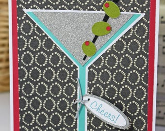 Handmade Martini Card, Handmade Greeting, Birthday Celebration, Dirty Martini Olive, Retirement, Cheers, Graduation, Promotion, Congrat Card