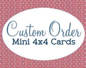 "Customize Any Card in my Shop, Handmade 4""x4"" Note Cards, Blank Stationary, Custom Mini Note Cards, Any Occasion, Hanging or with Envelope"