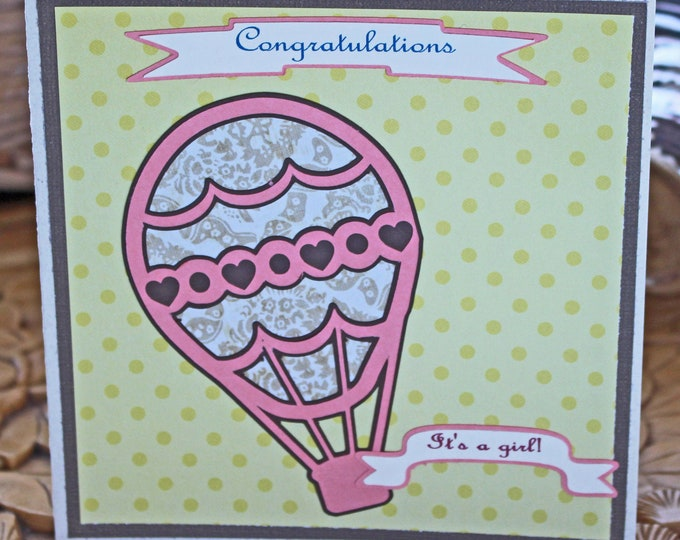 It's a Girl!, Hot Air Balloon Baby Card, Vintage Balloon Card, Hot Air Balloon, Handmade Card, Baby Girl Card, Baby Shower, Baby Girl Shower
