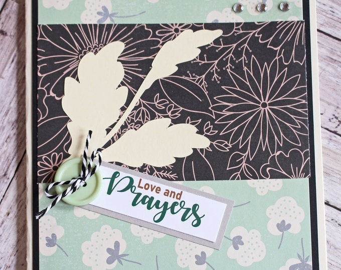 Love and Prayers, Floral Sympathy Card, Handmade Bereavement, Thinking of You, You're in Our Thoughts, Praying for You, During Time of Grief