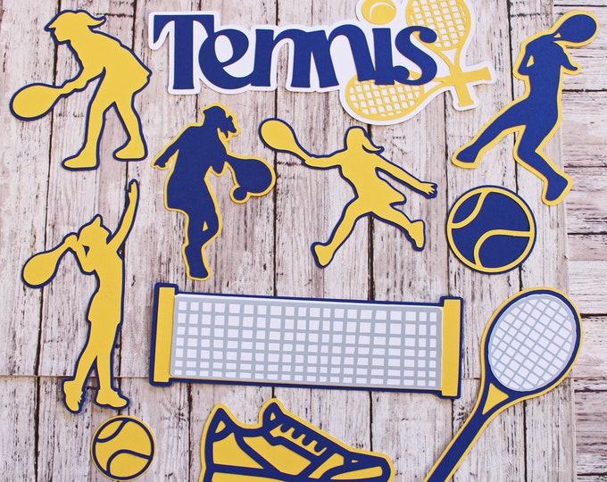 Any Color, Tennis Die Cut Set, Set of 11, Scrapbooking, High School, College Sports, Team Color, Handmade Diecuts, Tennis Club Team Memories