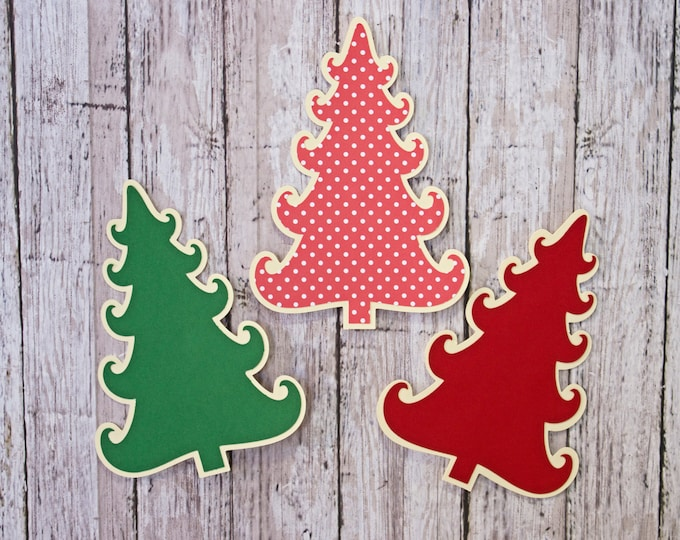 Set of 3, Christmas Tree Die Cut, Layered Die Cut, Christmas Scrapbook, Holiday Embellishment, Christmas, Die Cut, Holiday, Scrapbook, Tree