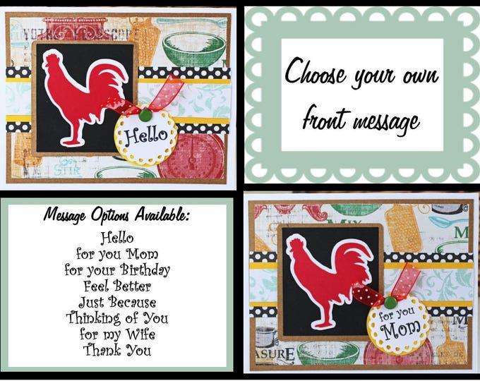 Custom, Handmade Red Hen Card, Handmade Greeting Card, Red Hen Greeting Card, Handmade Hen Card, Birthday Hen Card, Thank You Hen Card, Mom
