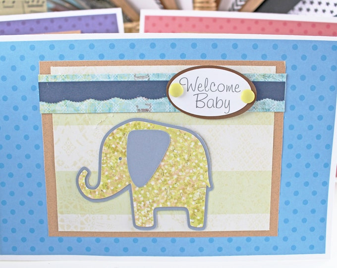 Welcome Baby Boy, Baby Elephant, Handmade Card, Elephant Baby Shower, New Baby Boy, Baby Boy Elephant, Baby Boy Animal Card, Baby Boy Safari