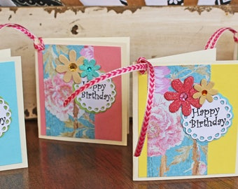 Set of 4, Birthday Gift Tags, Handmade Gift Tags, Floral Gift Tags, Gift Tags, Gifts, Tags, Birthday Tags, Birthday Gift, Roses, for Her