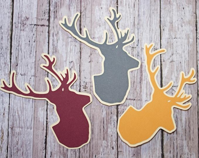 Set of 3, Stag Head Die Cuts, Layered Die Cuts, Hunting Scrapbook, Scrapbook Embellishment, Stag, Deer, Elk, Buck, Die Cut, Scrapbook, Hunt