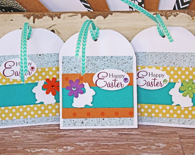 Set of 3, Easter Bunny Tags, Handmade Tags, Easter Tags, Gift Tags, Easter Egg Hunt, Tags, Easter, Easter Bunny, Hang Gift Tag, Egg Tag