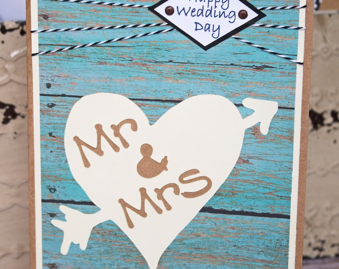 Mr & Mrs, Carved Tree, Rustic Wedding Card,  Rustic Anniversary Card, Tree Carving, Love Carved in Tree, Handmade Card, Heart and Arrow Card