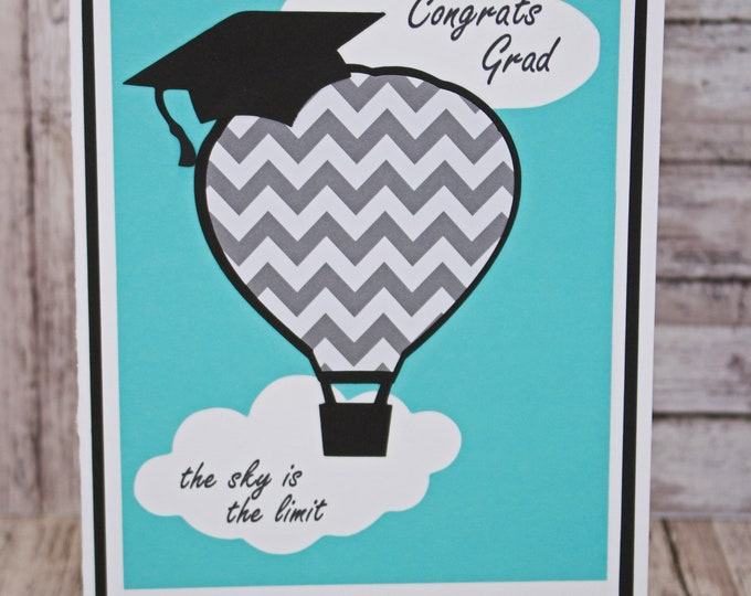 Customize for Any Year, The Sky is The Limit Graduation Card, Handmade Grad Congratulations, Hot Air Balloon, Graduation Cap, Congrats Grad
