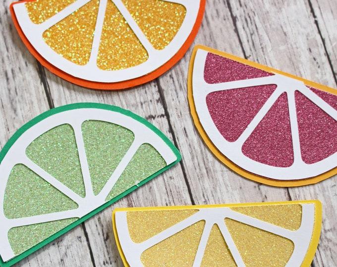 Set of 4, Citrus Themed Die Cut Set, Lemon Lime Orange and Blood Orange, Sliced Fruit, Handmade Embellishments, Any Occasion, Scrapbooking