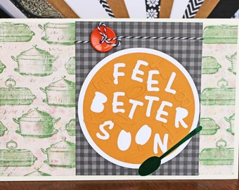 Feel Better Soon Soup Card, Alphabet Soup Get Well Card, Get Well Card, Feel Better Card, Handmade, Greeting, Warm, Wishes, Get Well, Card