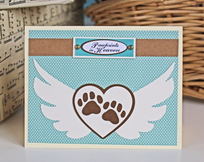 Pawprints in Heaven - Pet Bereavement Card, Sypmathy Card, Pawprints with WIngs Card, Loss of Pet, Dog, Cat, Pet Angel, Fur Baby, Loss