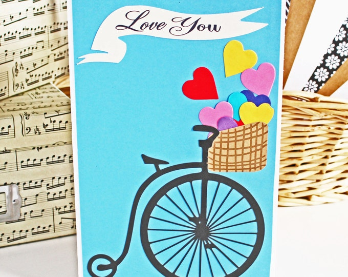 Antique, Bicycle, Basket, Heart, Valentines, Day, Anniversary, Card, Valentine, Handmade, Vintage, Bike, Colorful, I, Love, You, Bicyclist
