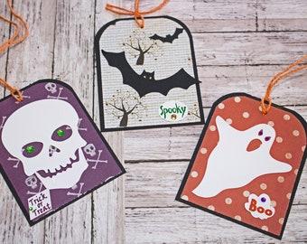 Large Halloween Tag Set, Set of 3 Hang Tags, Bat Halloween Party Decor, Treat Bag Name Tag, Ghost Handmade Gift Tag, Skull Party Favor Tag