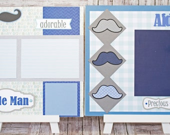 Any Color, Baby Boy Mustache, Handmade Scrapbook Page Set, Little Man Stache, Custom Premade Kit, Personlized Memory Book, Baby Shower Gift