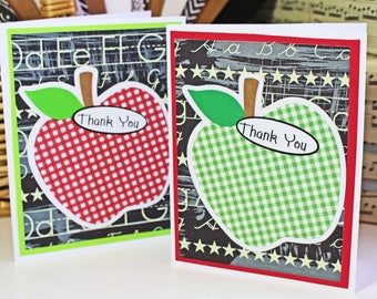 Set of 2, Teacher Thank You Cards, Apple Thank You Cards, Teacher Card, Handmade Card, Teacher Thank You, Teacher Apple Card, Note Card Set
