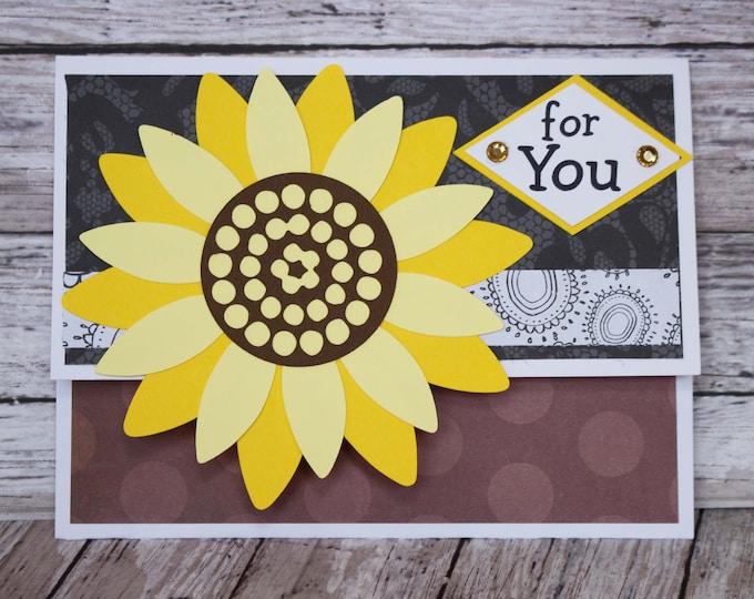 Sunflower Gift Card Holder, Vibrant Floral Money Card, Yellow Flower Card, Handmade Money Card, Feminine Celebration Card, Thank You Gift