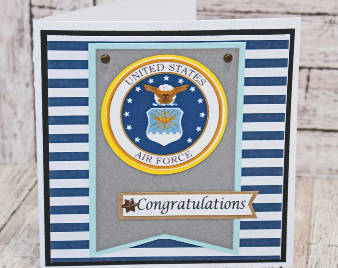 US Air Force Card, Air Force Retirement, Air Force Promotion, Air Force Graduation, Handmade Card, Air Force Card, Air Force Congrats Card