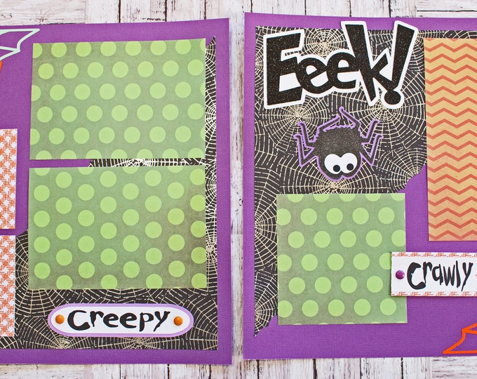 Halloween Spider, Scrapbook Pages, Premade Scrap Book Page Kit, Creepy Crawly, Cute Halloween Spiders, Purple Green Orange Color, Spider Web