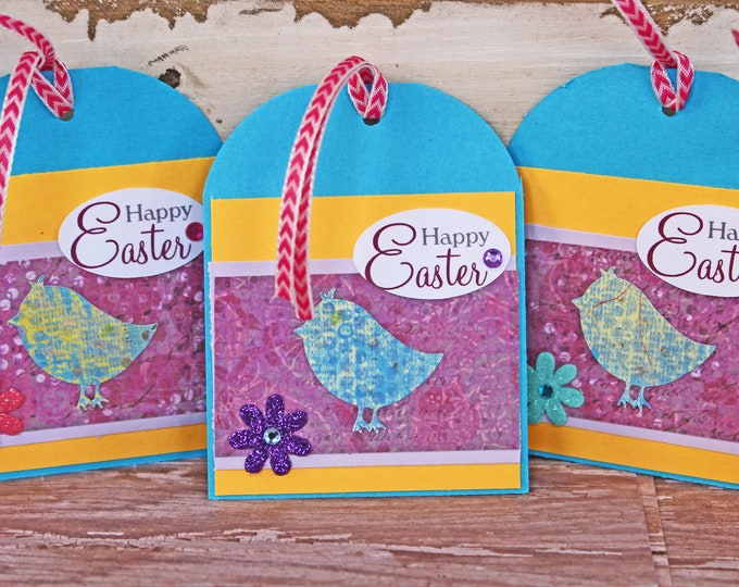 Easter Gift Tag Set, Set of 5, Vibrant Spring Colors, Gift Basket Tags, Easter Chicks, Baby Chicks Basket Tags, Easter Sunday, Egg Hunt Tags