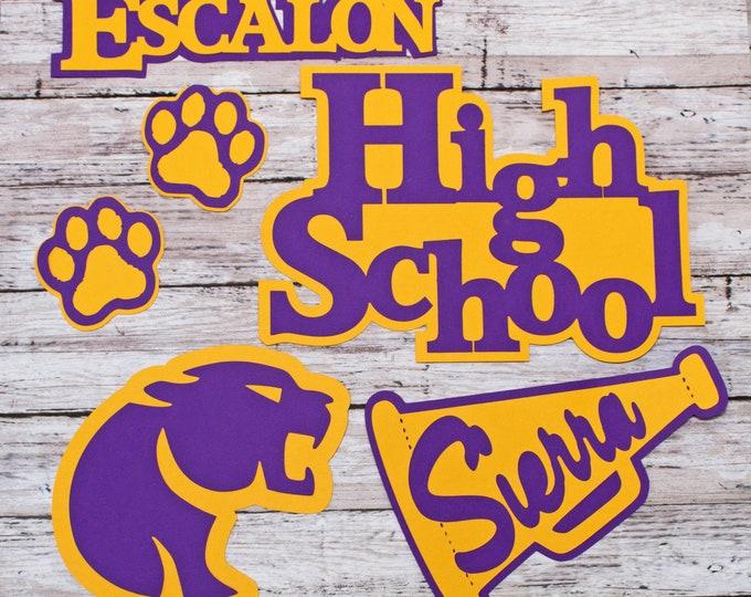Any Color, Custom Mascot Set, High School, Custom Die Cut Set, High School Mascot, High School Scrapbook, Die Cuts, School Mascot Die Cuts