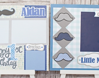 Any Birthday Year, Any Color, Handmade Scrapbook Page Set, Little Man Mustache, Custom Premade Kit, Personlized Memory Book, Child, Baby Boy
