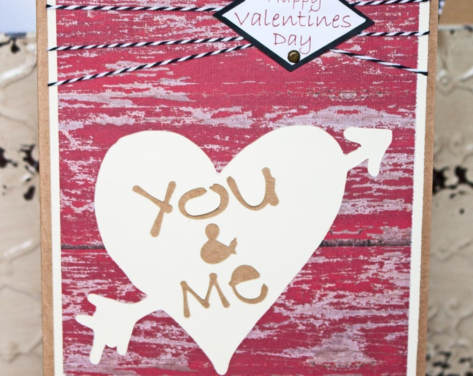 Rustic Valentine Card, Tree Carving Card, Handmade Love Card, Red Distressed Wood, Heart and Arrow, Valentine's Day Greeting, Anniversary