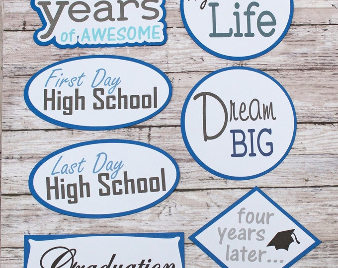 Any Color, Custom Color, Die Cut Set, High School Graduation, Scrapbook, Die Cuts, First Day, Last Day, Four Years, Inspirational, Senior
