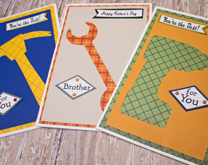 Custom, Tool Card, Father's Day Card, Birthday Card, Hammer, Wrench, Drill, Handmade Card, Toolbox, Garage, Workshop, Tools, Handymen, Card