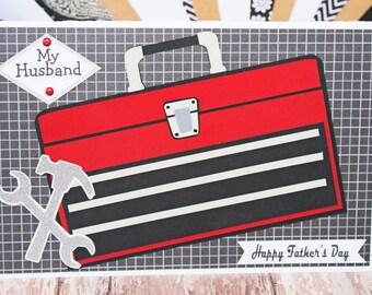 Custom, Toolbox Card, Toolbox Card for Dad, Father's Day Card, Birthday Card, Toolbox Card for Him, Handmade Card, Tool Card, Craftsman Tool