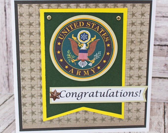 US Army Card, Army Retirement, Army Promotion, Army Graduation, US Military, US Army, Handmade, Card, Congratulations, Army Congrats Card