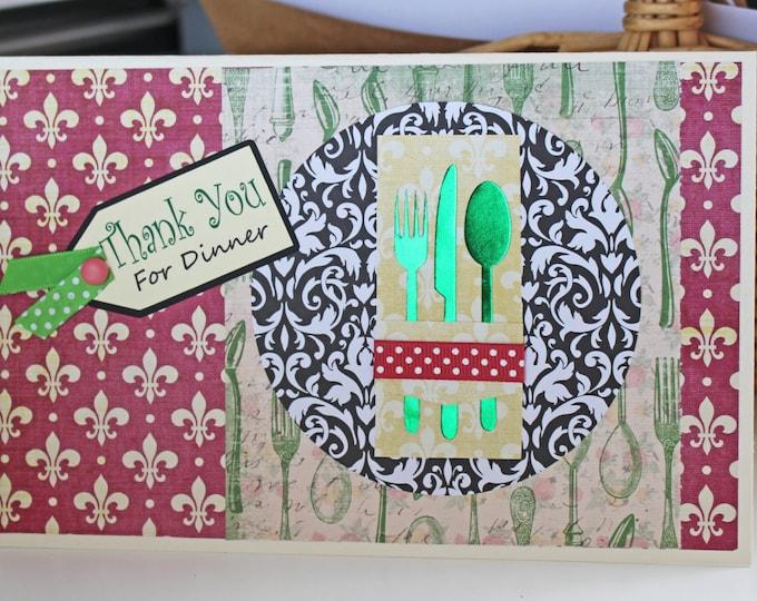 Thank You For Dinner Card, Handmade Card, Dinner Thank You Card, Hostess Card, Hostess Dinner Card, Dinner Party Card, Dinner Party Hostess