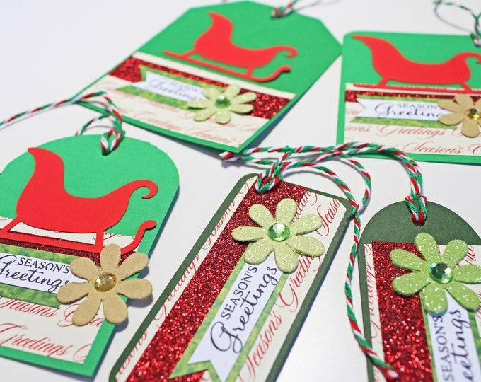 5 Sleigh Gift Tags, Set of 5, Assorted Christmas Tags, Handmade Gift Tags, Christmas Gift Tags, Holiday Gift Tags, Sleigh Gift Tag, Gift Tag