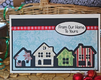 Custom, Row of Houses Cards, Christmas Cards, Holiday Cards, House Christmas Cards, Home Holiday Cards, Handmade Cards, Real Estate Cards
