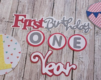 Birthday Boy, Any Color or Year, Layered Die Cut Set, Scrapbook Embellishment, Hot Air Balloon, Baby Book, Handmade Diecuts,  Aviation Theme