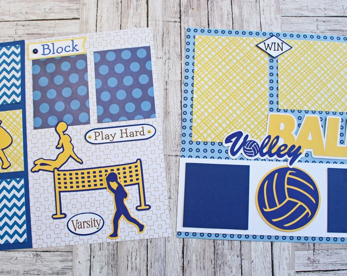 School Team Colors, Custom Made, Volleyball Scrapbook Page Set, Memory Book Kit, Premade Volleyball Page, Custom Mascot Design, Personalized