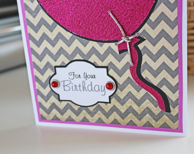 Balloon Birthday Card for Her, Personalized Birthday Card, Glitter Pink Balloon Card, Chevron, Ladies Birthday Card, Female Birthday Card