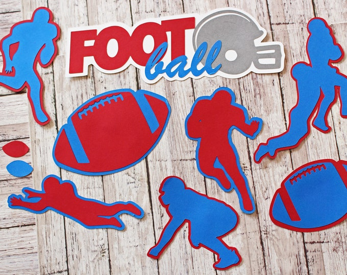 Any Color, Football Die Cuts, Set of 8, Scrapbooking, High School, College Sports, Team Color, Handmade Diecuts, Kids YAFL, Pro, Party Decor