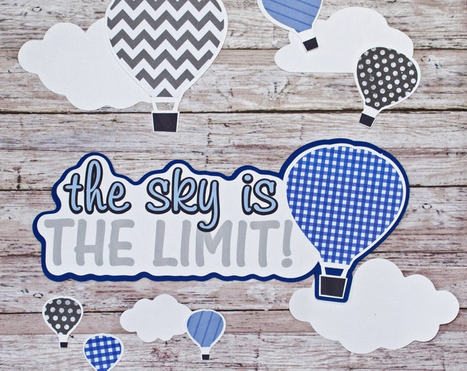 Any 2 Colors, Set of 11, Layered Diecuts, Hot Air Balloons, Sky is the Limit, Custom Die Cut Set, High School Scrapbook, Embellishments