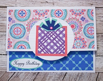 Birthday Gift Card Holder, Boho Chic Design, Feminine Money Card, Present Themed Card, Hand Made, Pink Purple Blue, Colorful Pattern Mixing