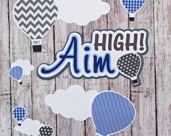 Any 2 Colors, Set of 11, Layered Diecuts, Hot Air Balloons, Aim High, Custom Die Cut Set, High School Scrapbook, Embellishment, Custom Color