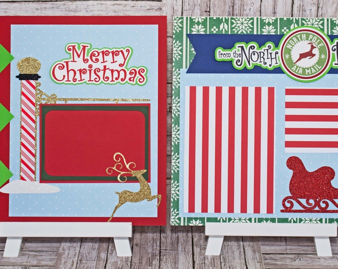 Christmas Scrapbook Page, North Pole Themed, Premade Holiday Scrapbook Pages, Layered Die Cuts, Handmade Winter Layout, Reindeer, Sleigh