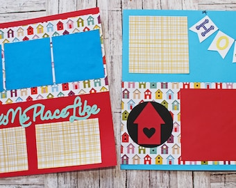 There's No Place Like Home, Choice of Colors, 12x12 Page Set, Premade Scrapbook Kit, Home Sweet Home, Housewarming Congrats Congratulations