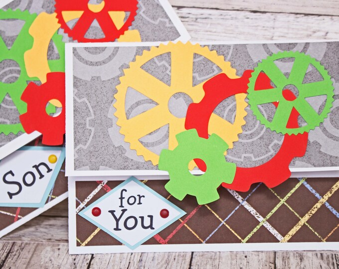 Birthday Gift Card Holder, Robotic Gear Geometric Design, Money Card, Primary Colors, Steampunk Themed, Hand Made, Colorful Male Birthday