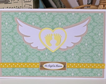 Baby Feet With Wings Card, Handmade, Card, Baby, Feet, Angel, Loss, Bereavement, Child, Grief, Mourn, Grieving, Parents, Mourning, Heaven