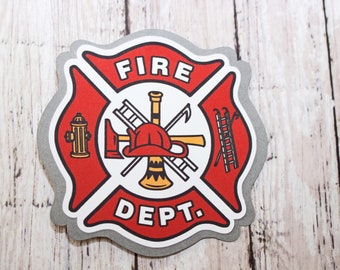 Fire Fighter Die Cut, Fire Dept Die Cut, Fireman Die Cut, Fire Department Die Cut, Firefighter Scrapbook, Fire House Die Cut, Embellishment