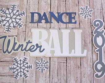 Custom Color and Year, Winter Ball Die Cut Set, Formal Dance, High School Scrapbook, Memories Keepsake, Teenage Gift Idea, Memory Scrap Book