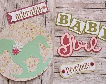 Baby Girl Die Cut Set, Set of 5 Layered Die Cuts, Scrapbook Embellishment, Rocking Horse, Baby Book, Handmade, Newborn Girl, Antique Theme
