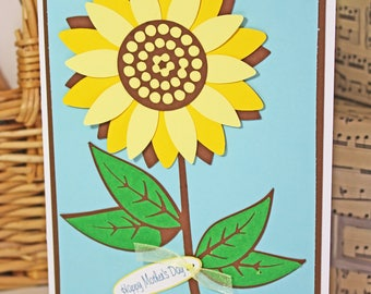 Custom, Sunflower, Handmade, Card, Thinking of You, Happy, Birthday, Mother's Day, Blossom, Graduation, Promotion, Congratulations, Sympathy